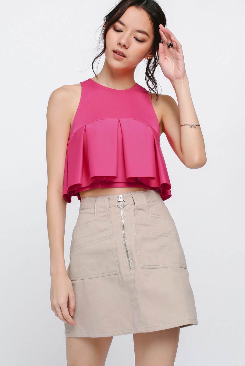 Kozelle Pleat Crop Top