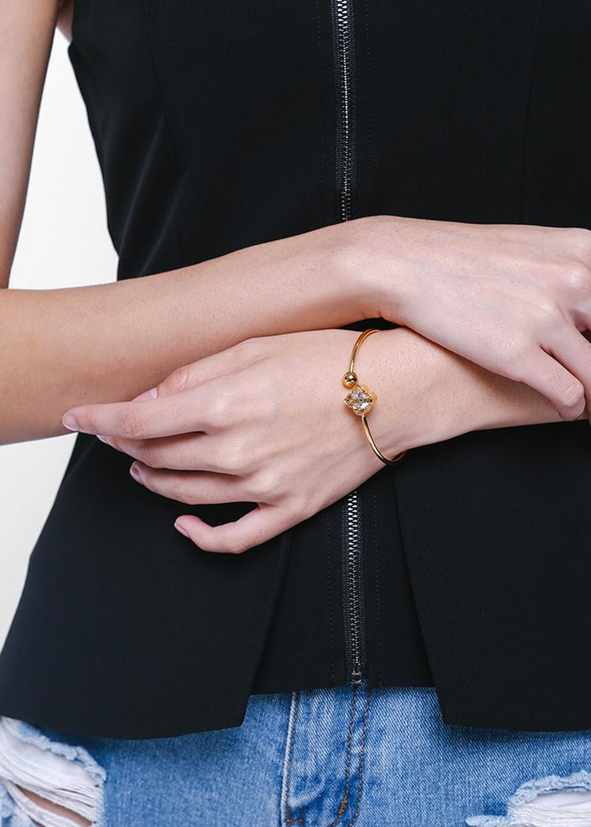 Baena Faux Gem Cuff Bracelet