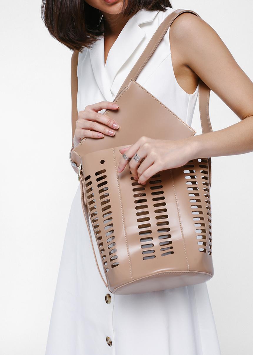 Beatrika Cage Shoulder Bucket Bag