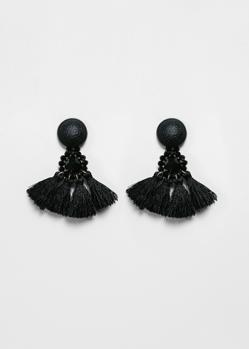 Jet Tassel Earrings
