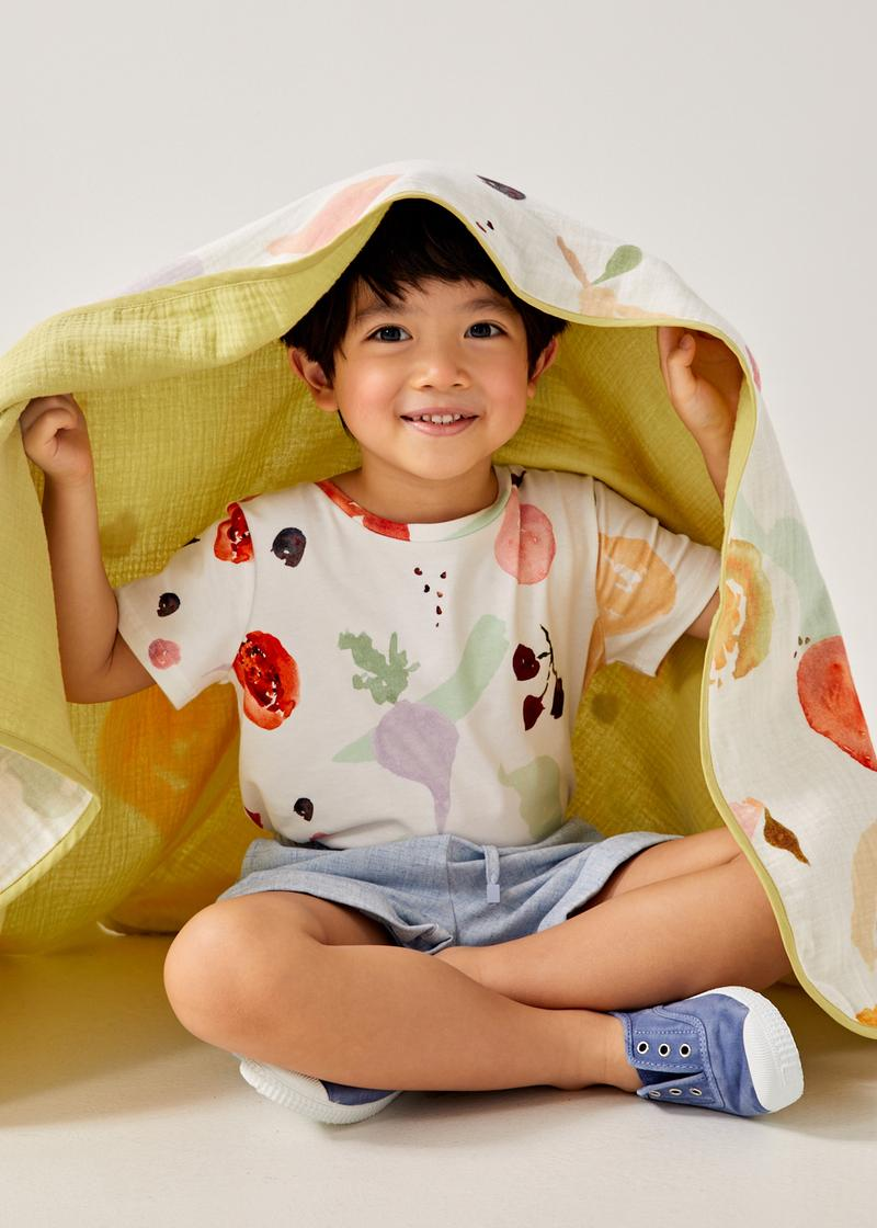 Muslin Reversible Blanket in Fruity Harvest