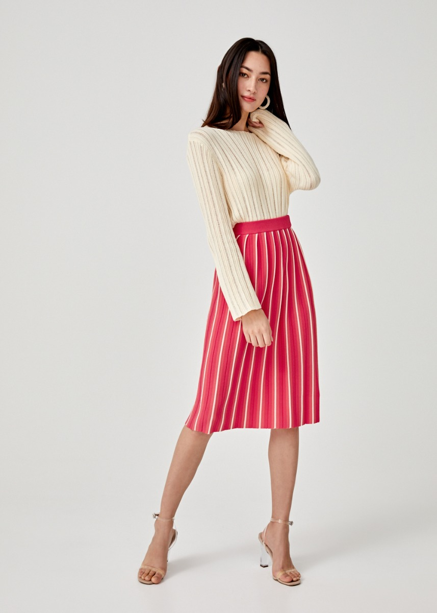 Lena Pleated Knit Skirt