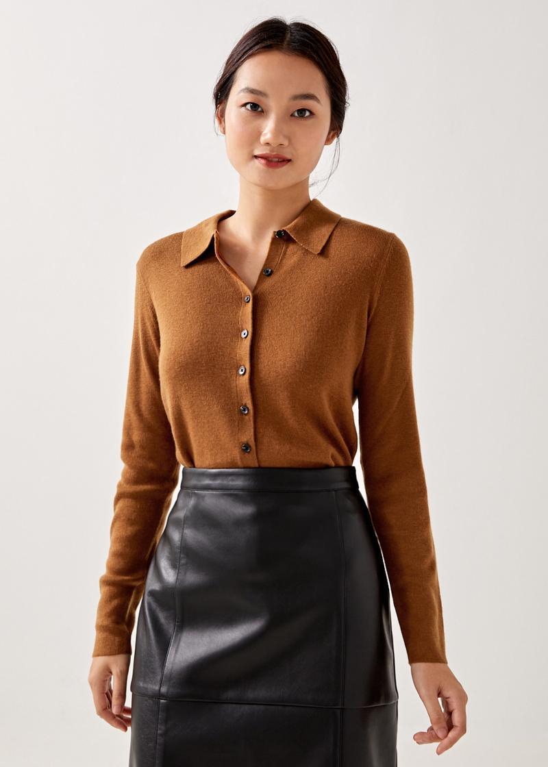 Eliora Wool Blend Polo Knit Top