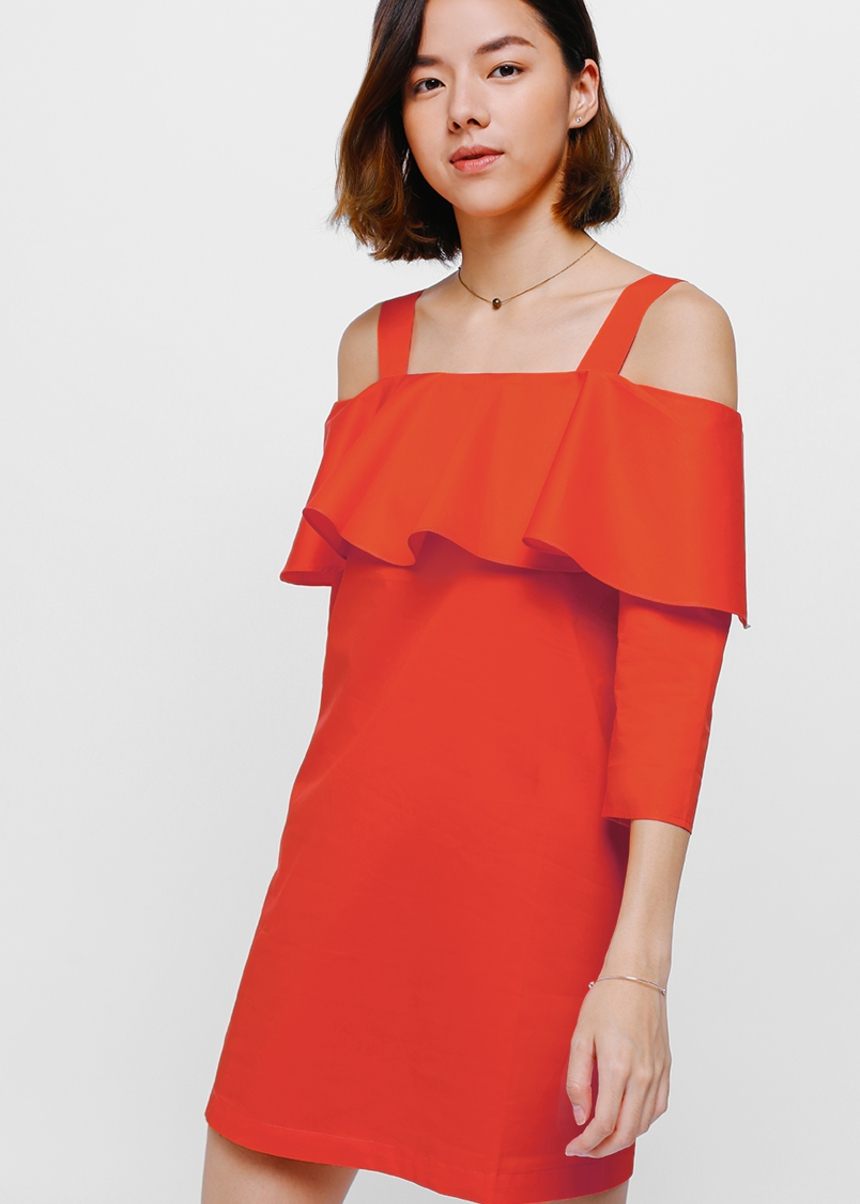 Naiya Ruffle Off Shoulder Dress
