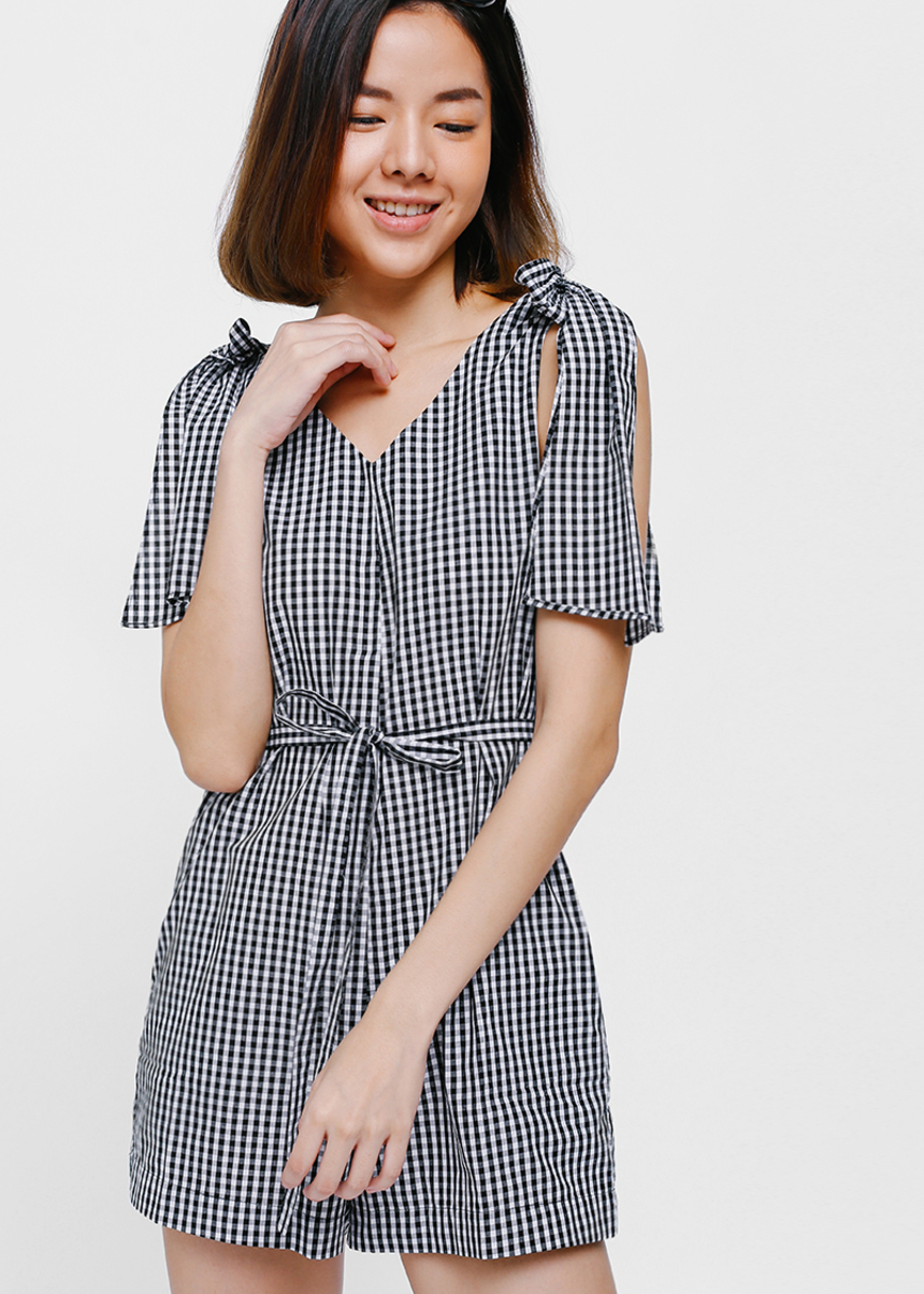 Sleanca Gingham Knotted Shoulder Playsuit