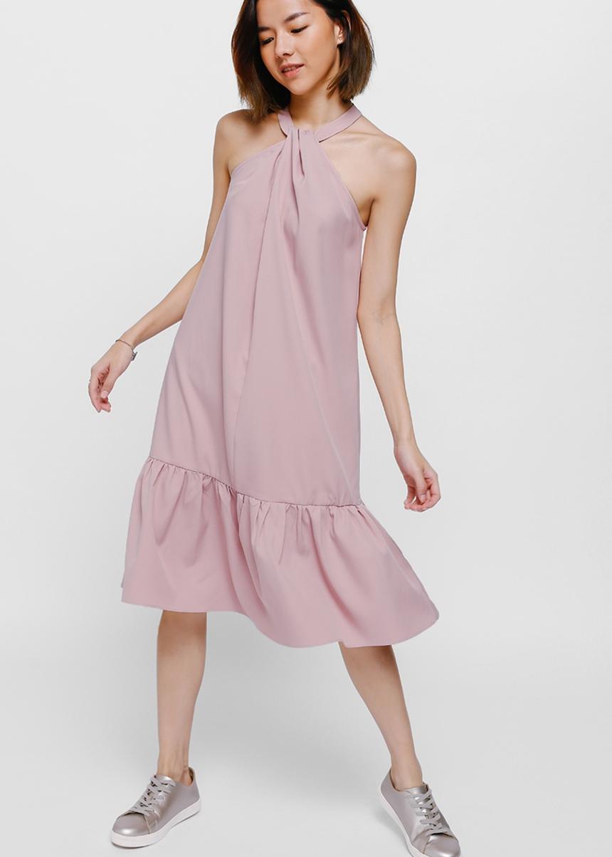 Raella Ruffle Hem Halter Dress