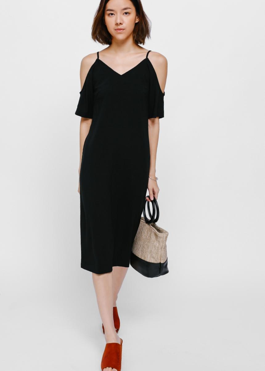 Dornia Cutout Shoulder Midi Dress