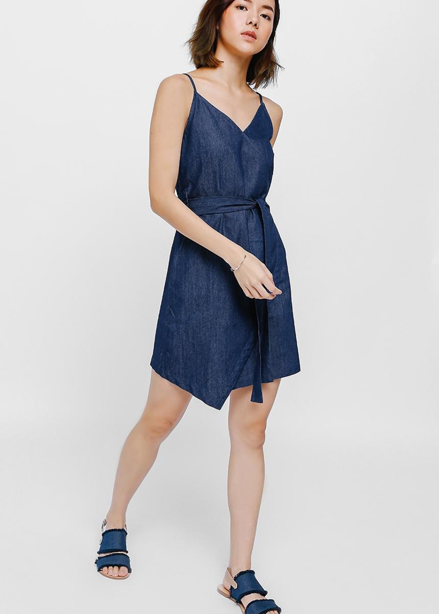 Lesirae Crossover Sash Denim Dress