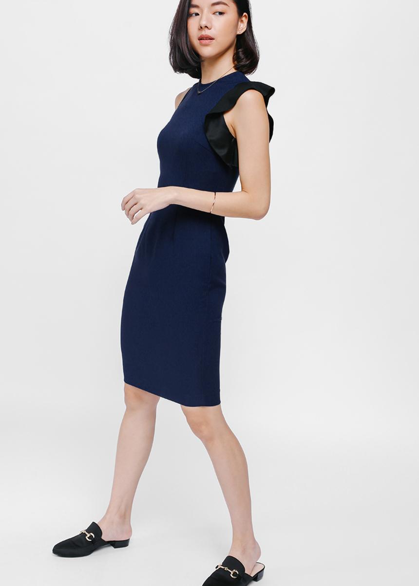 Anara Asymmetrical Ruffle Sleeve Dress