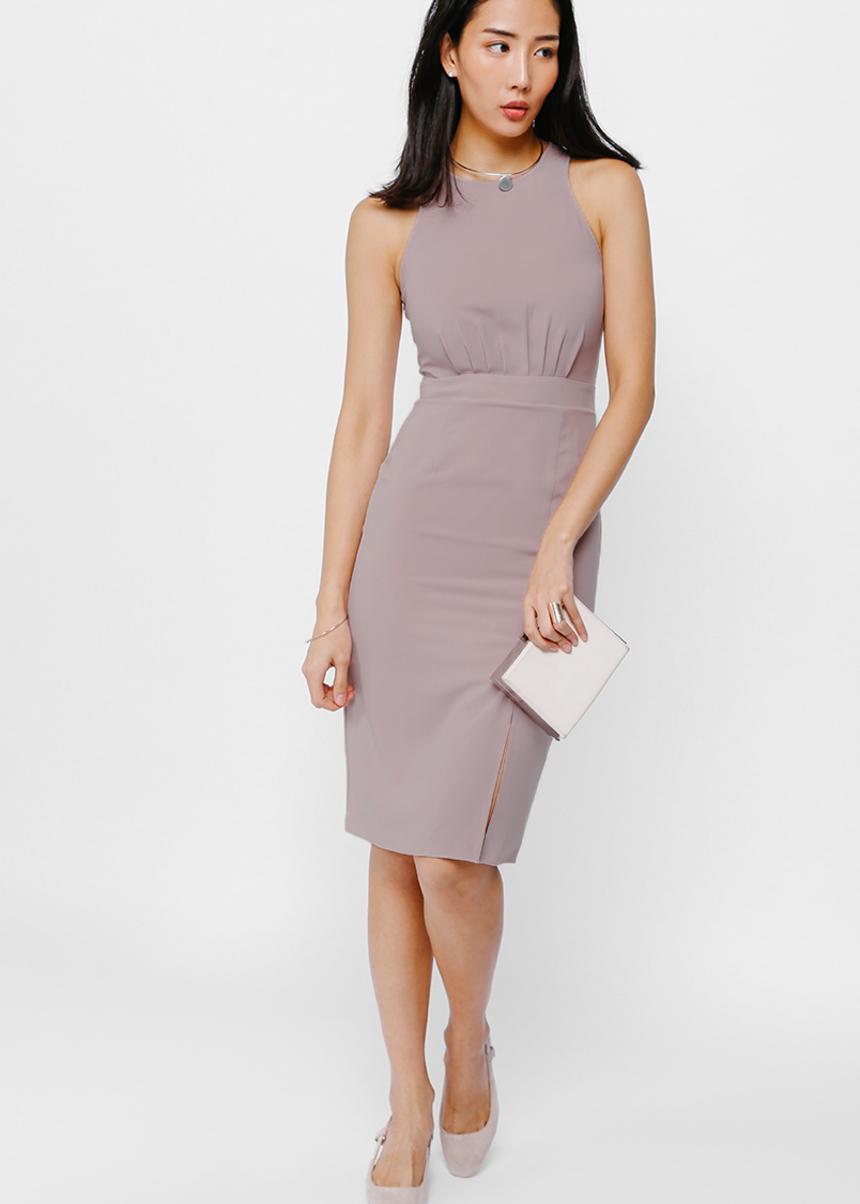 Xyliana Ruched Midi Slit Dress
