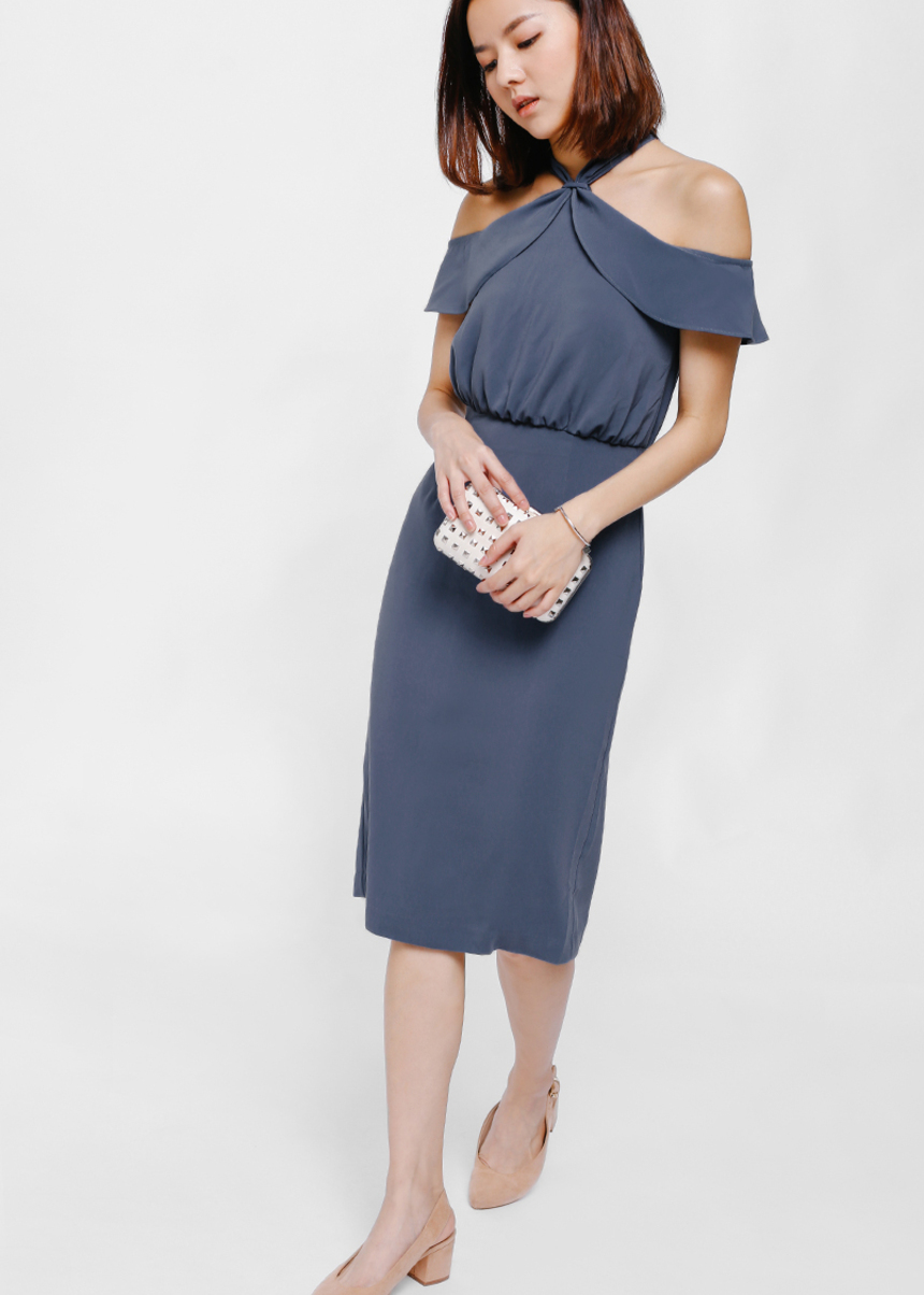 Gildrea Halter Off Shoulder Midi Dress