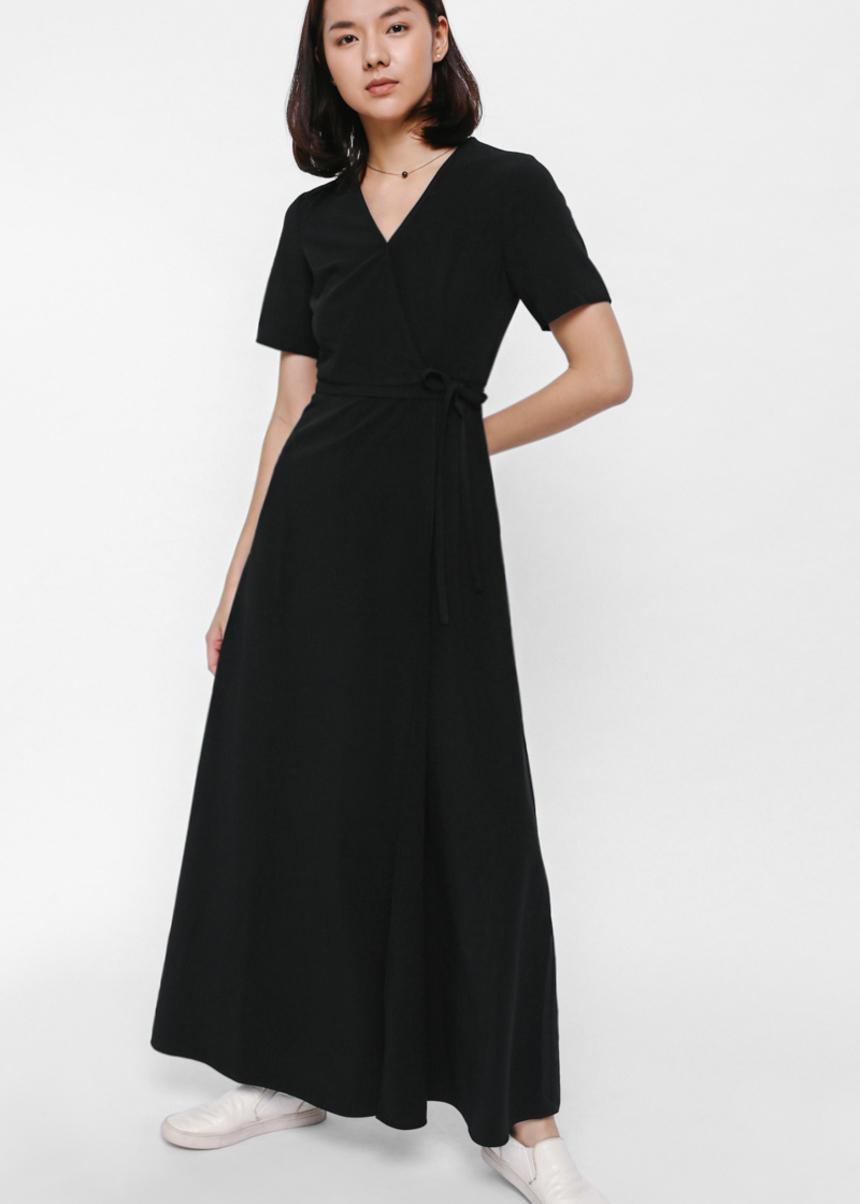 Drezby Foldover Tie Sash Maxi Dress