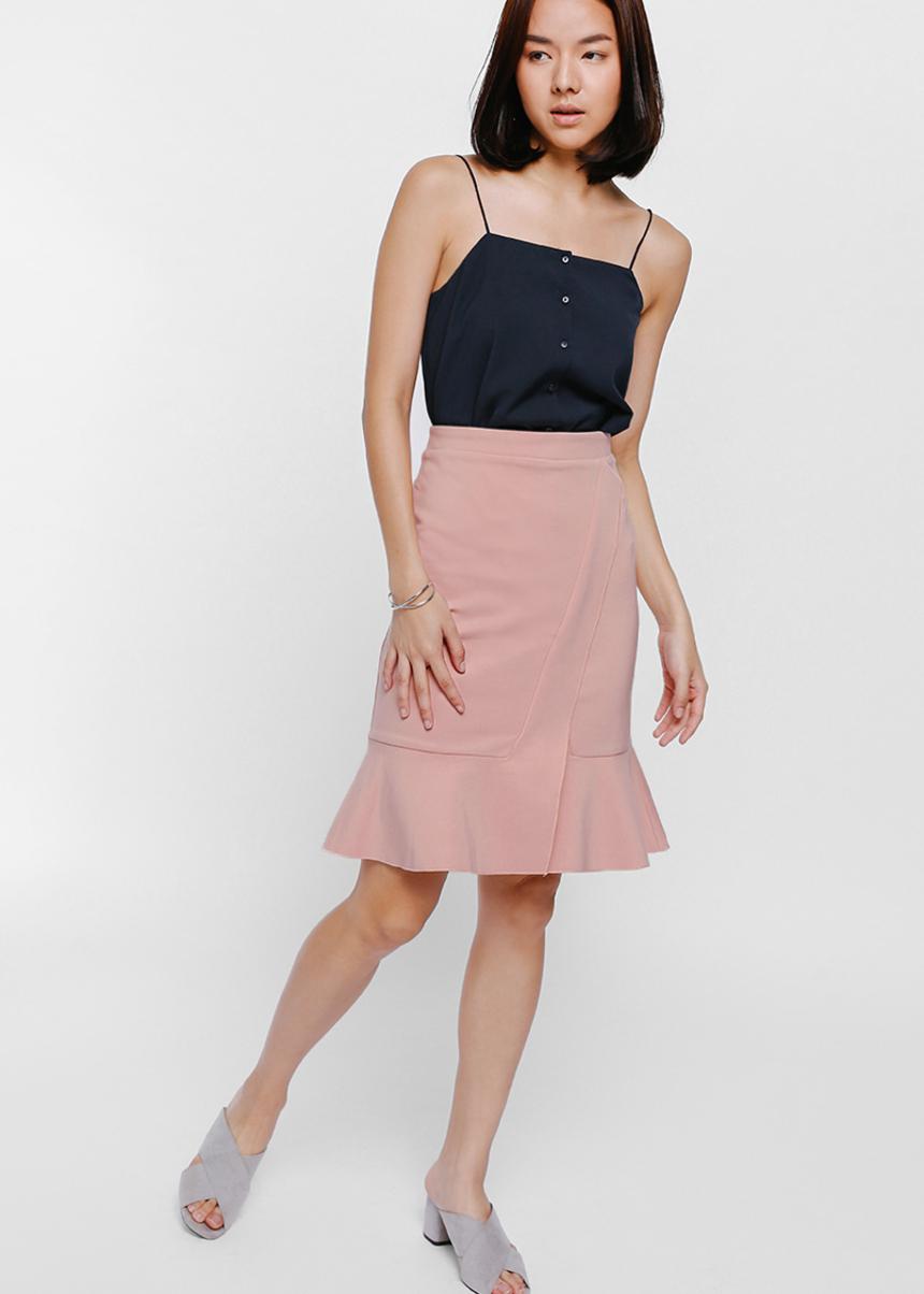 Salja Crossover Ruffle Hem Knit Skirt