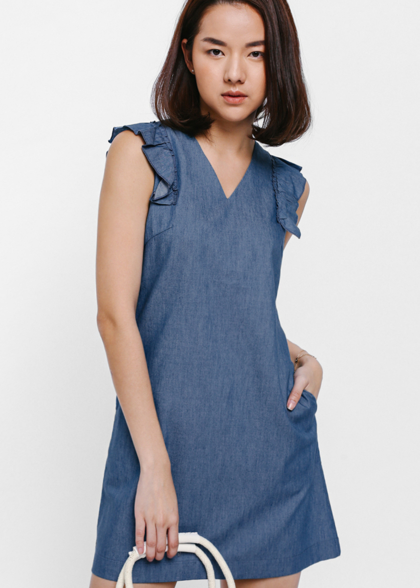 Laylene Ruffle Shoulder Denim Dress