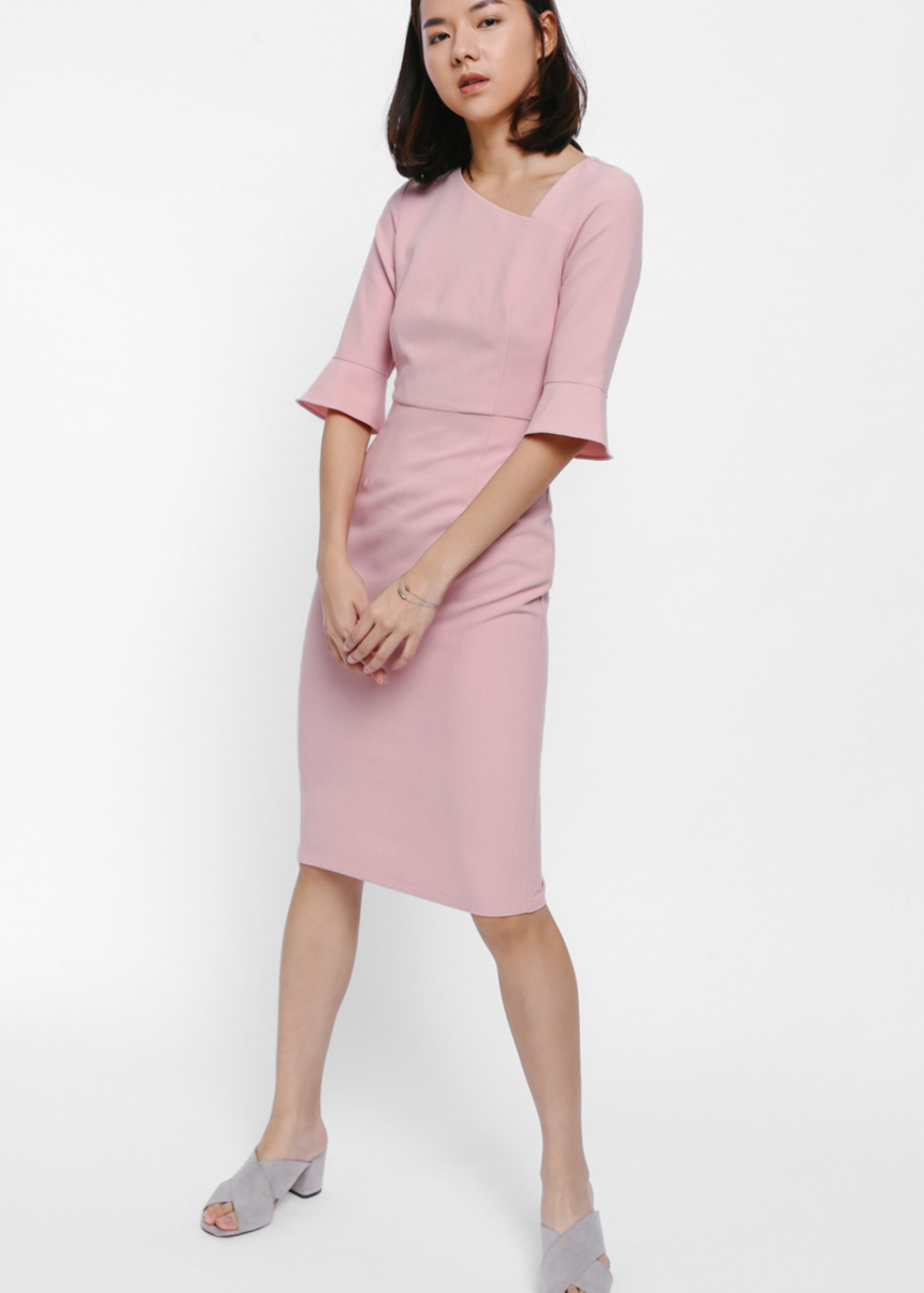 Haisey Asymmetrical Neck Bell Sleeve Dress