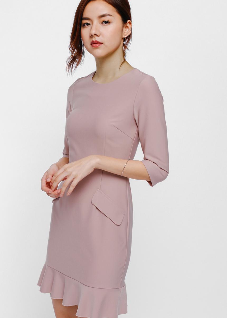 Delja Pocket Ruffle Hem Dress