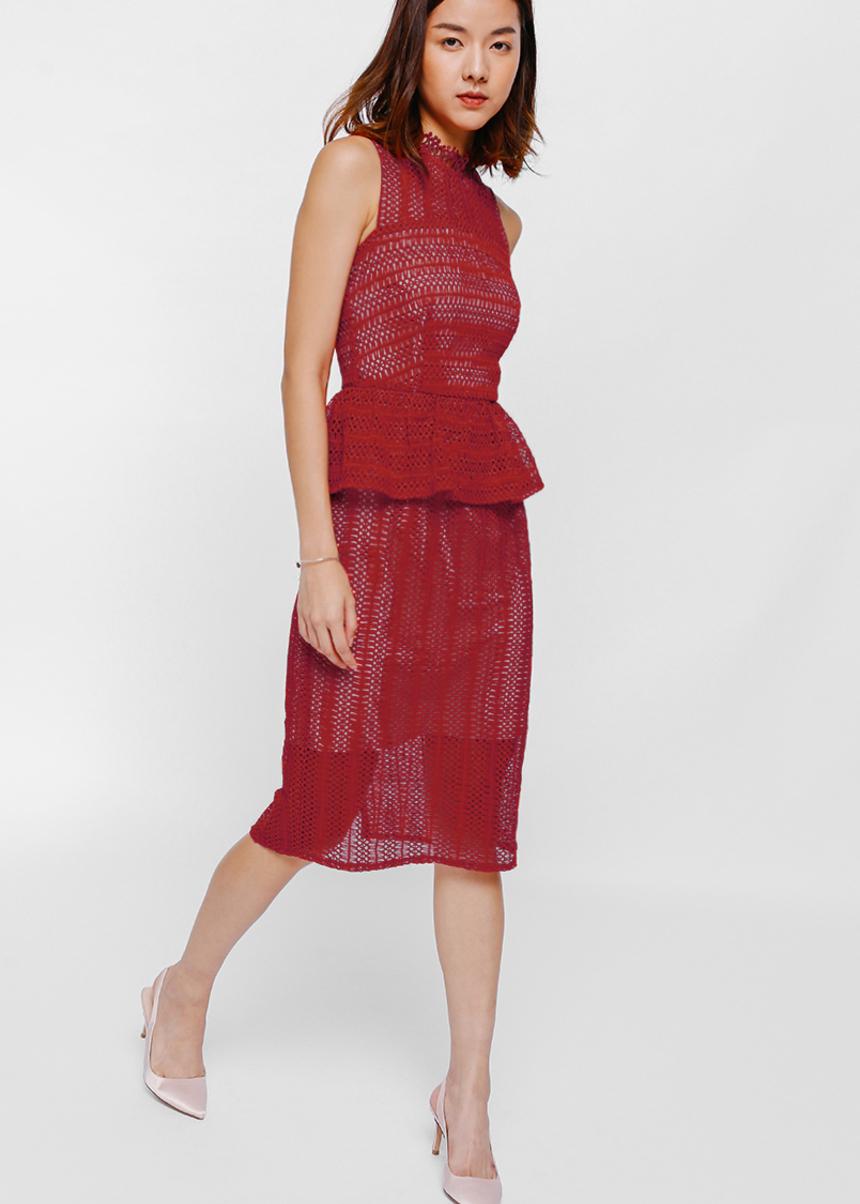 Oleanda Crochet Lace Peplum Dress