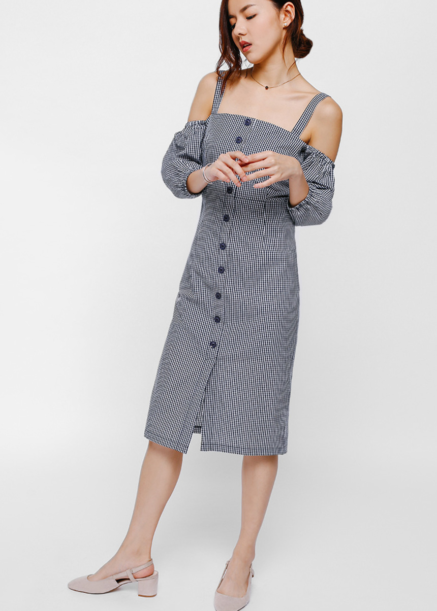Glystia Gingham Off Shoulder Button Front Dress