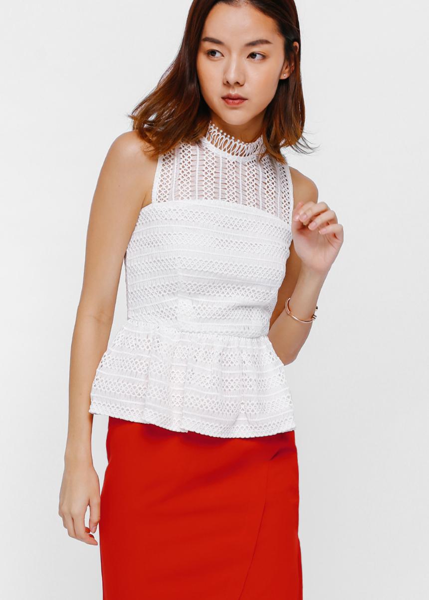 Oleanda Crochet Lace Peplum Top
