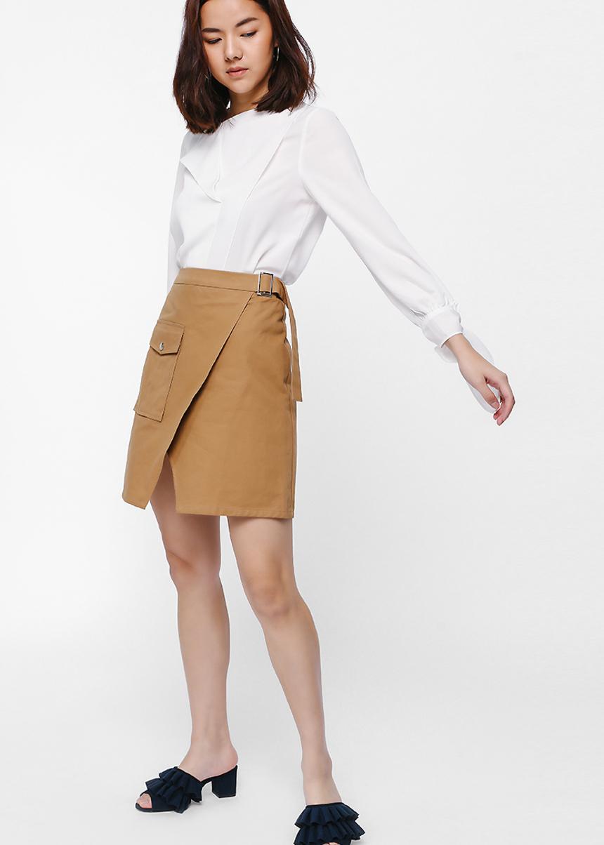 Winda Asymmetrical Layered Sash Sleeve Top