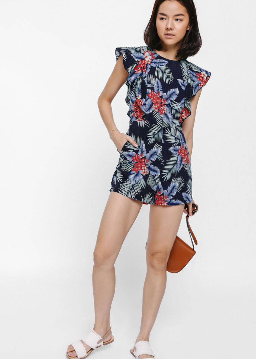 Oasia Printed Flutter Sleeve Playsuit
