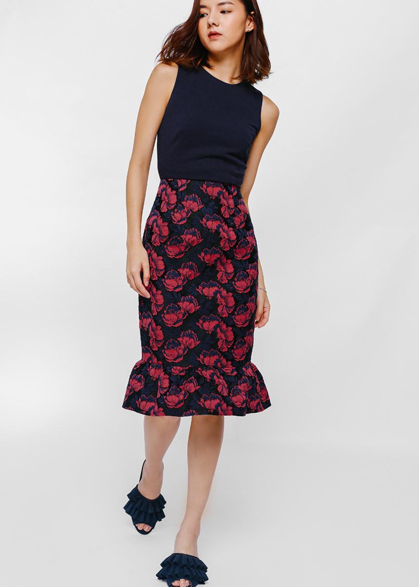 Yadriane Contrast Jacquard Ruffle Hem Dress