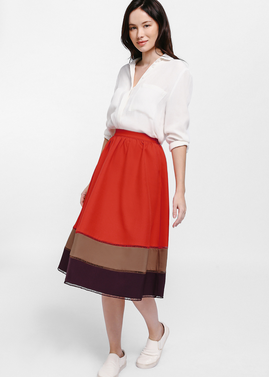 Sheula Colour Block Eyelet Midi Skirt