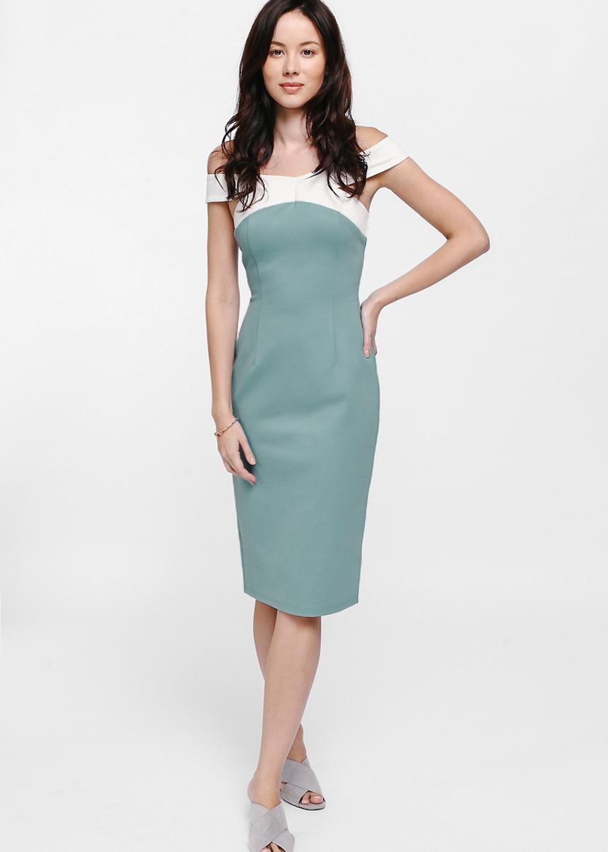 Yeorra Off Shoulder Contrast Bodycon Dress