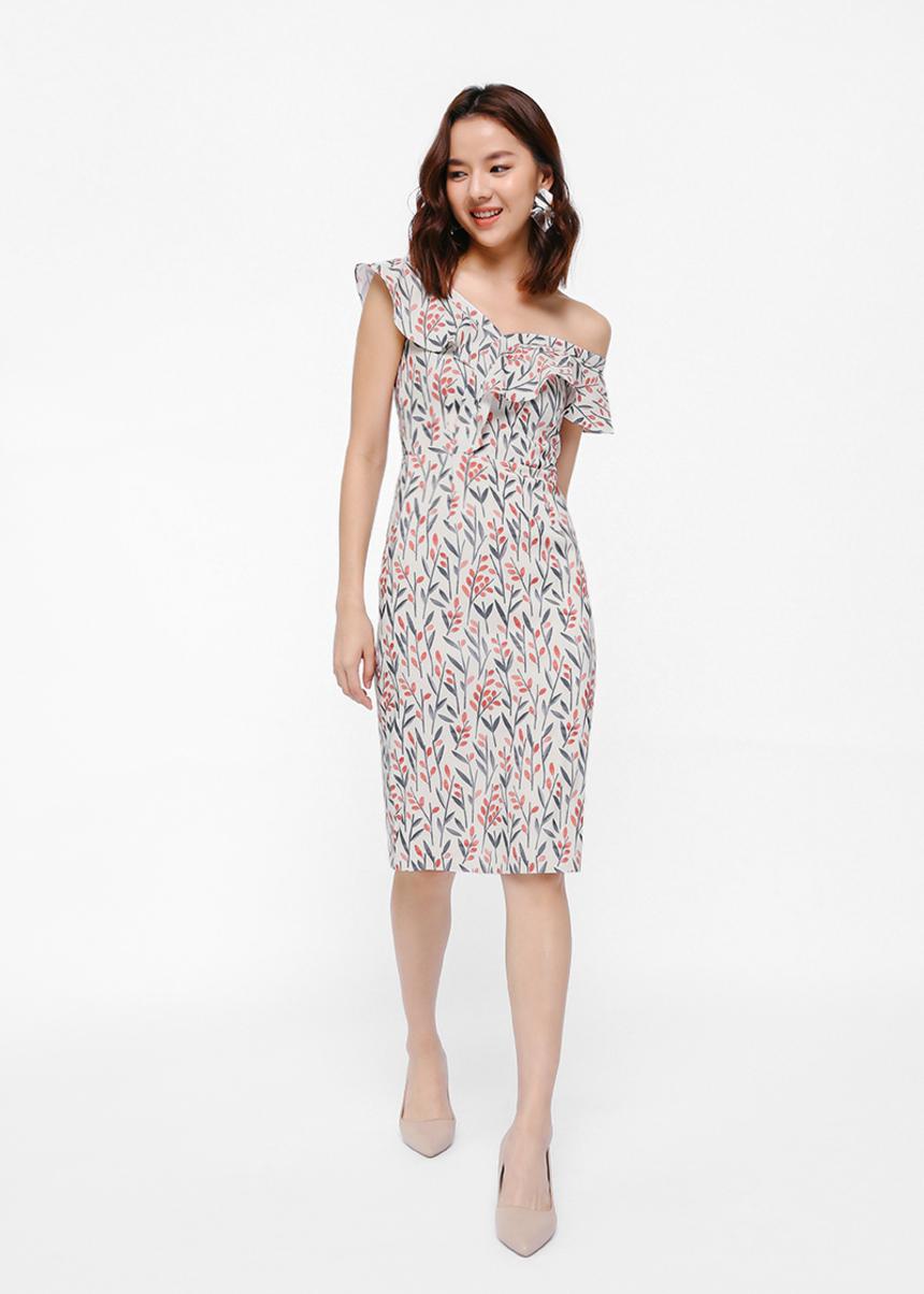 Qacole Printed Off Shoulder Dress