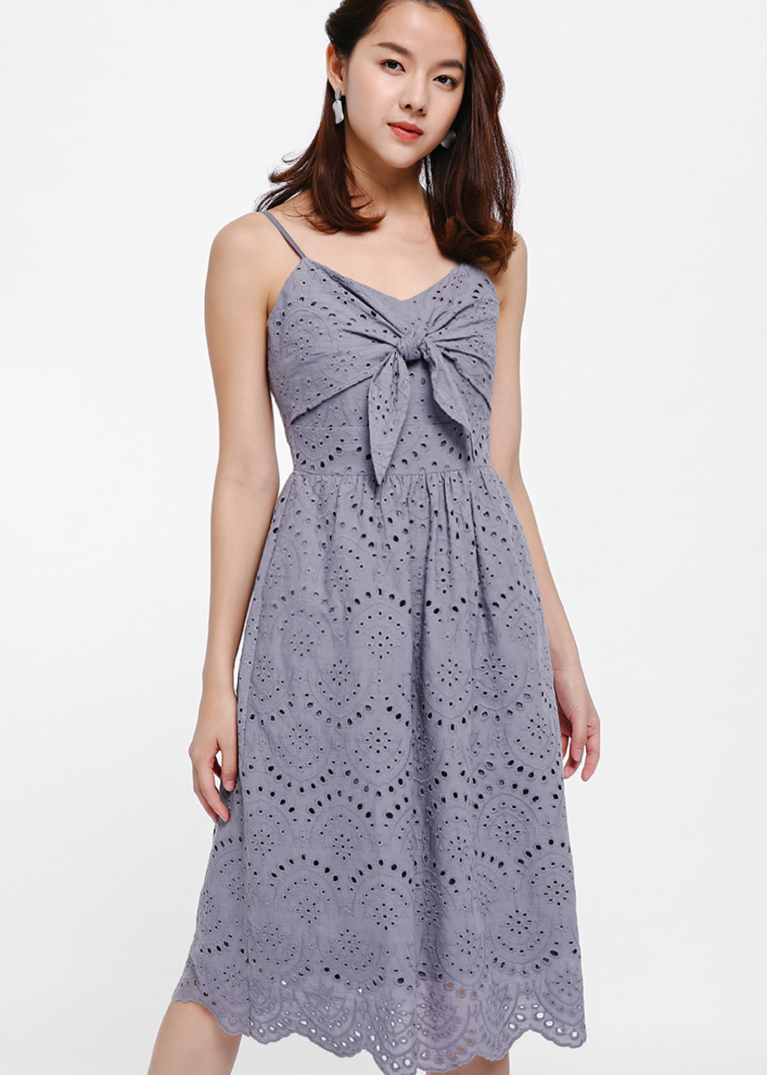 Keforie Knotted Front Eyelet Dress