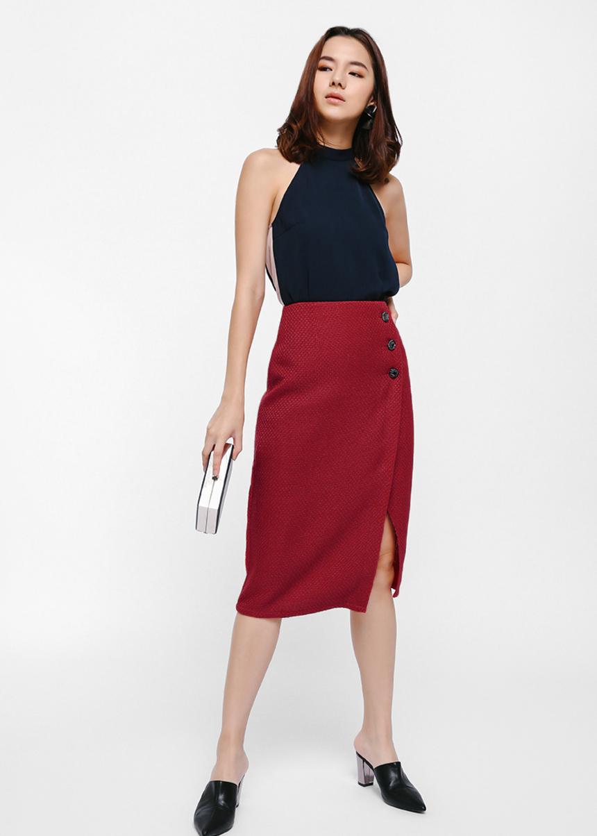 Sybillie Button Pencil Skirt