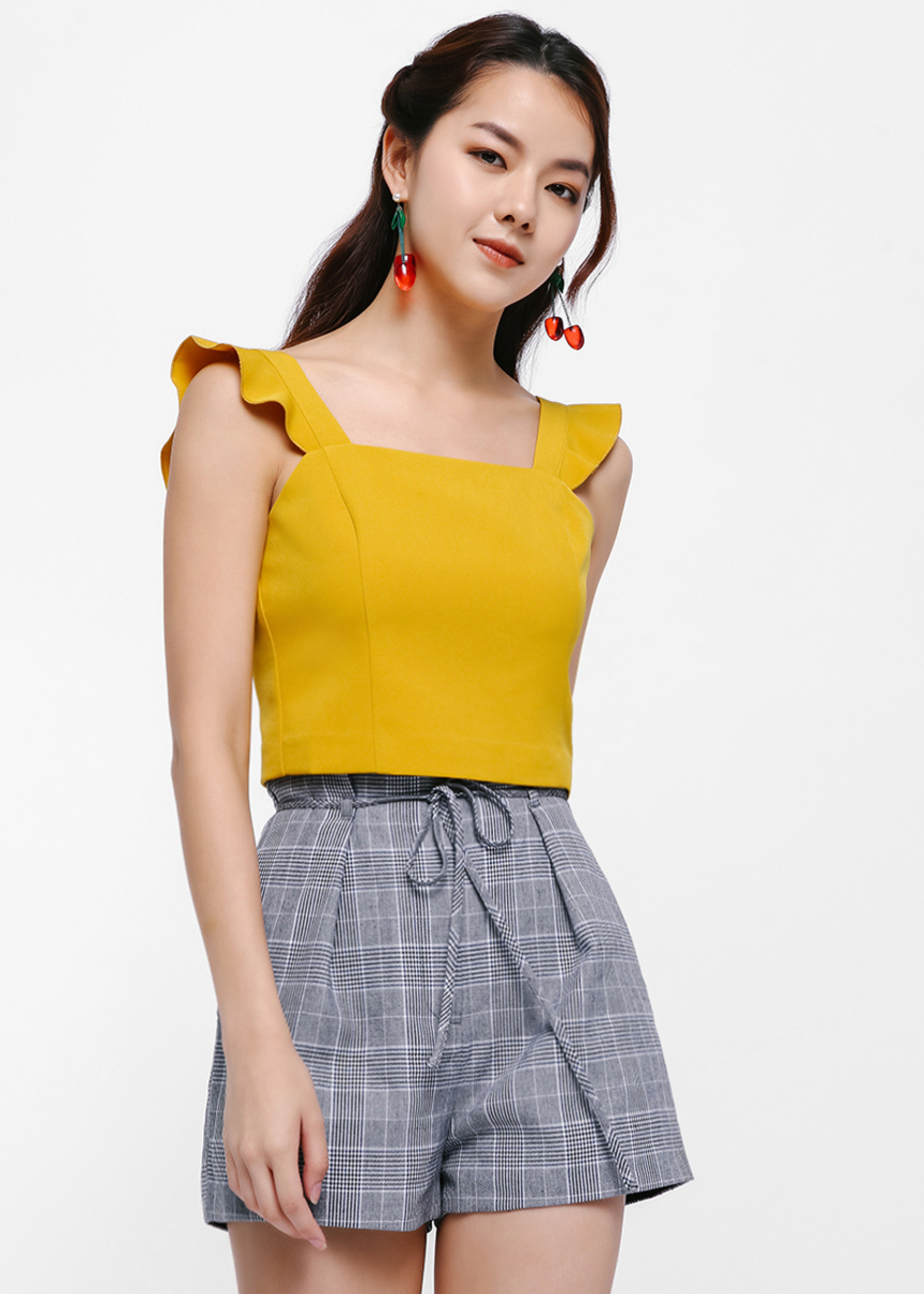 Chadwick Flutter Strap Fitted Crop Top