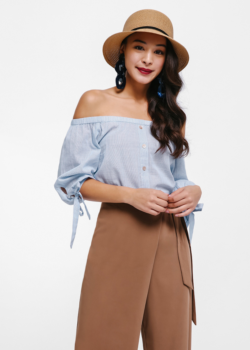 Wynona Off-shoulder RIbbon Cuff Top