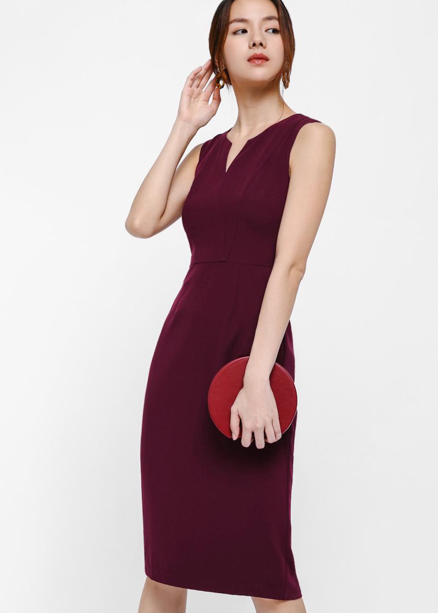 Gwenda Notch Neck Bodycon Midi Dress