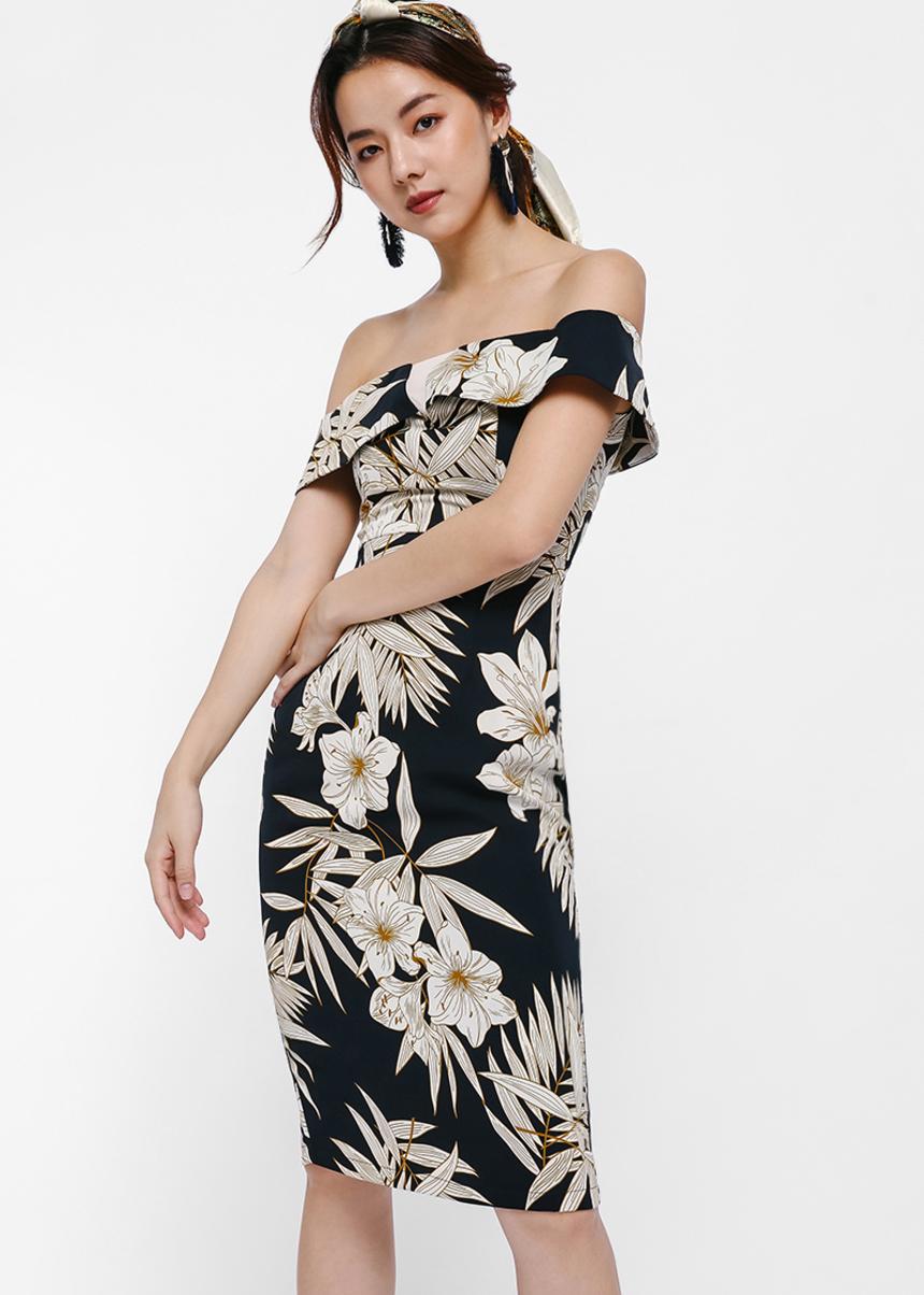Trowena Tropical Print Off-shoulder Dress
