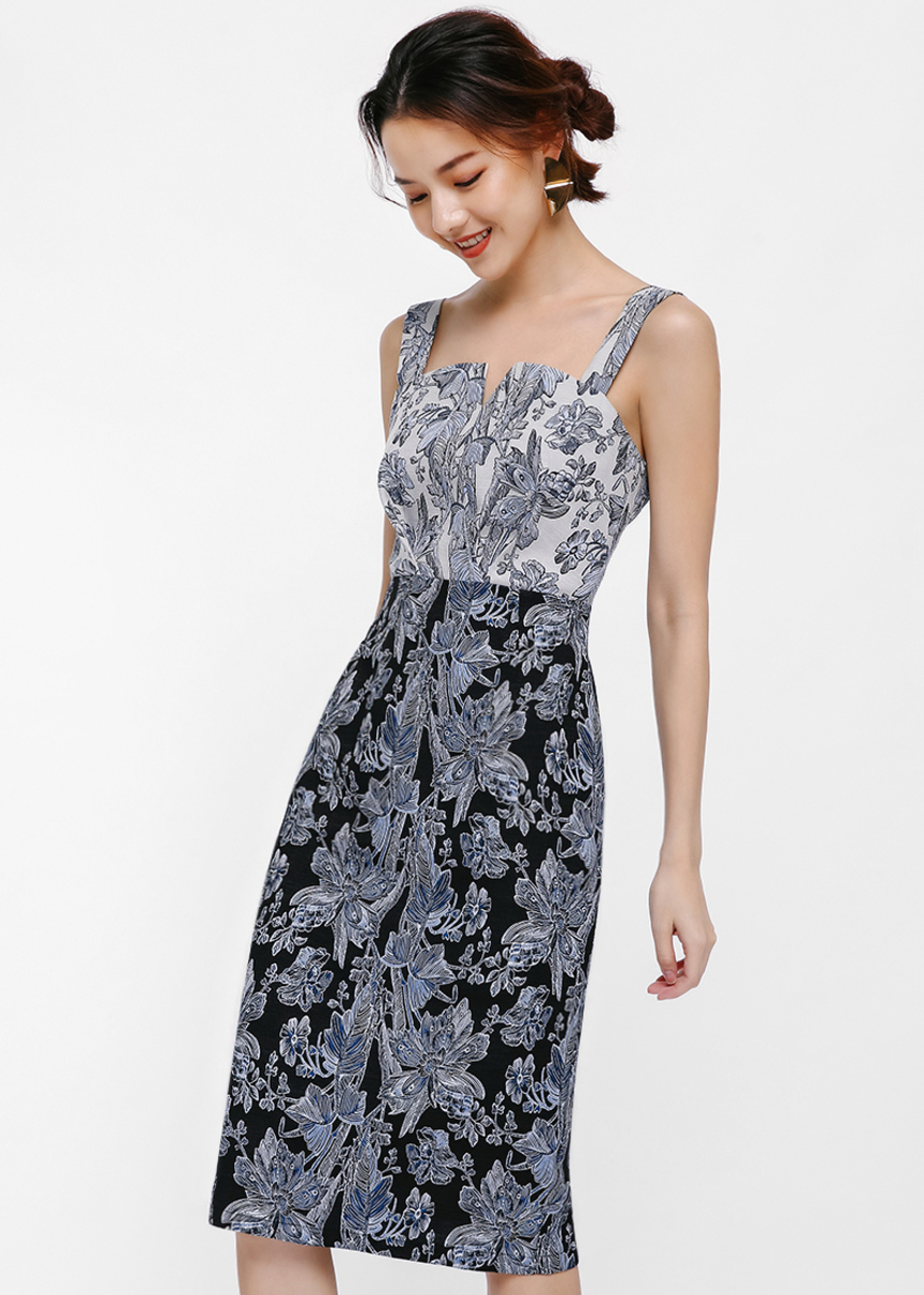 Kelle Tailored Jacquard Midi Dress