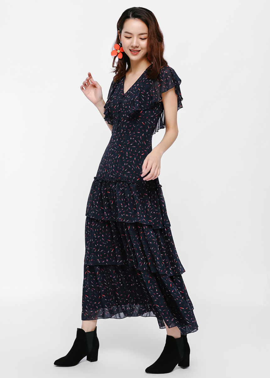Ryana Printed Layered Maxi Dress