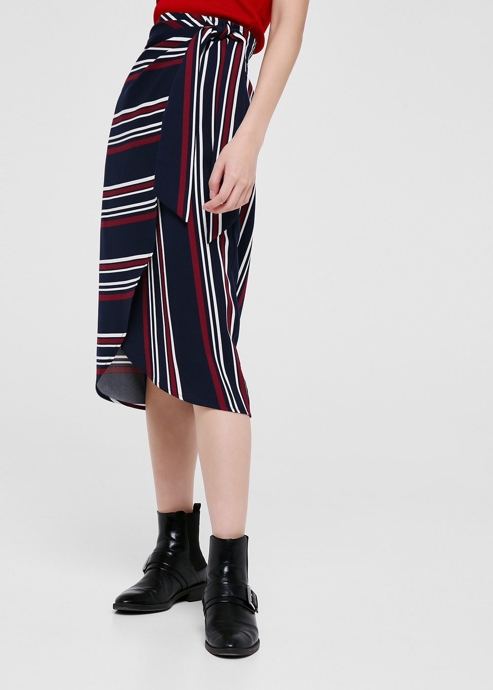 Joslyn Striped Wrap Skirt
