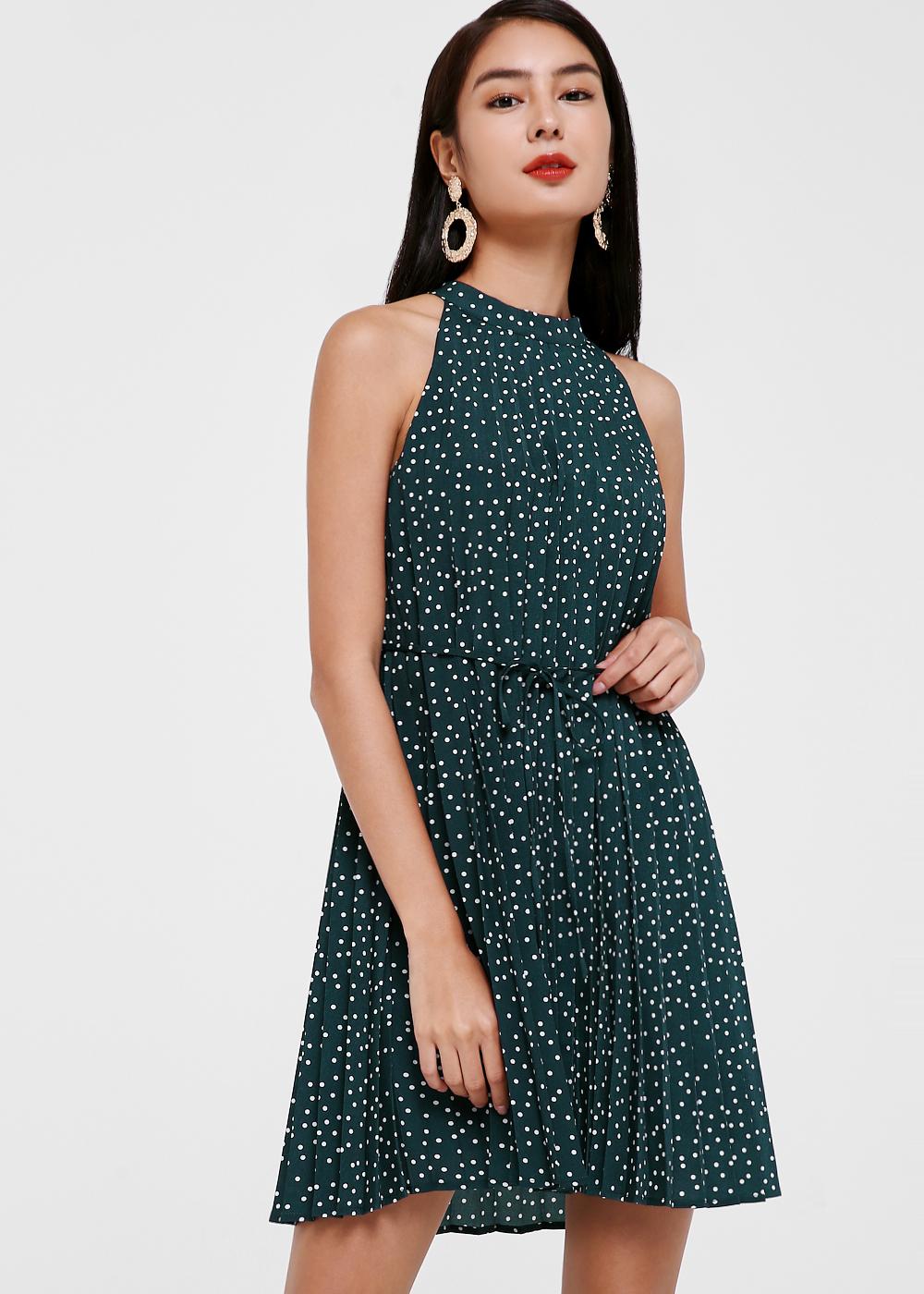 Carmen Ribbon Tie Pleated Dress in Speckled Dream
