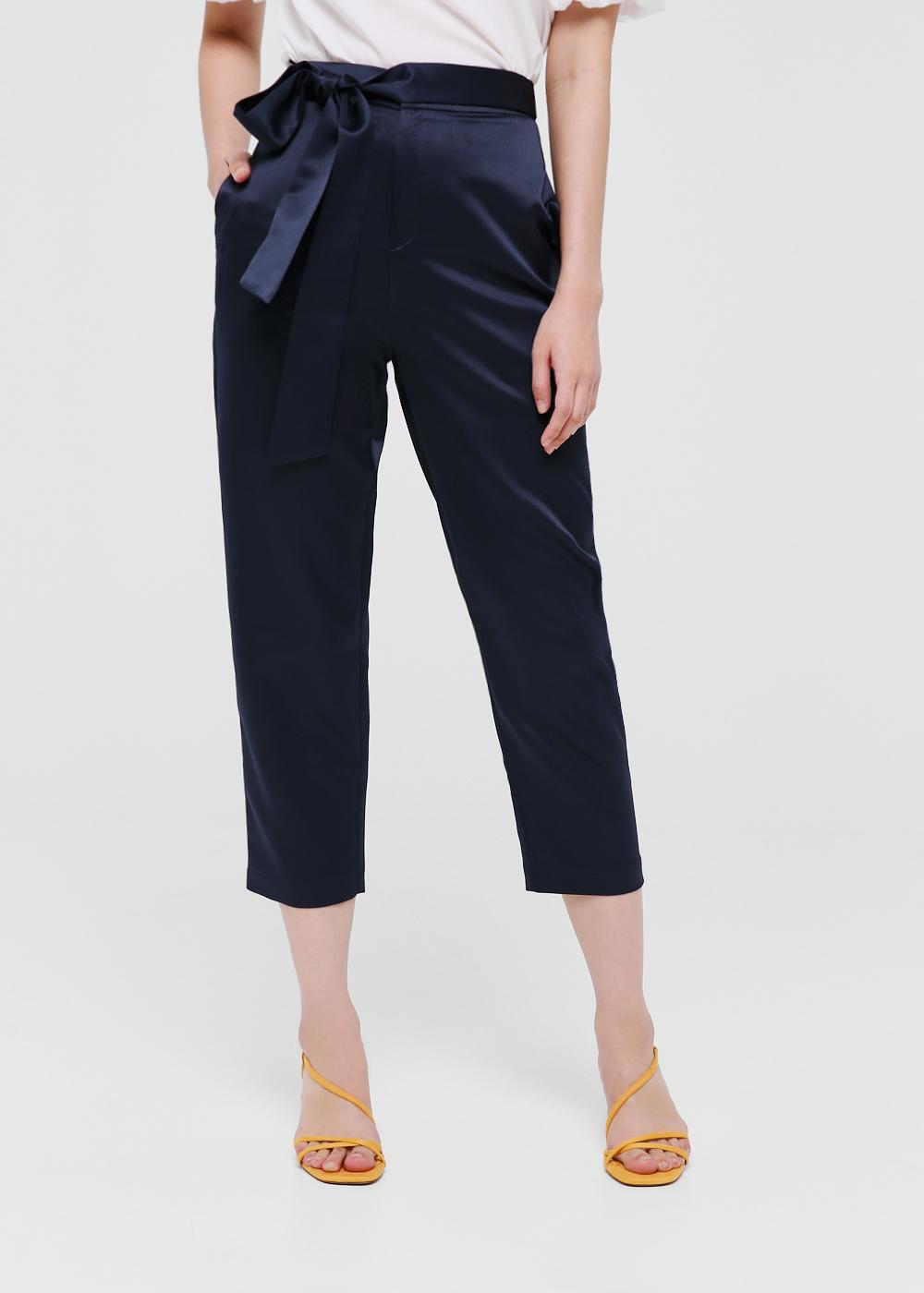 Charlotte Satin Tie Front Pants