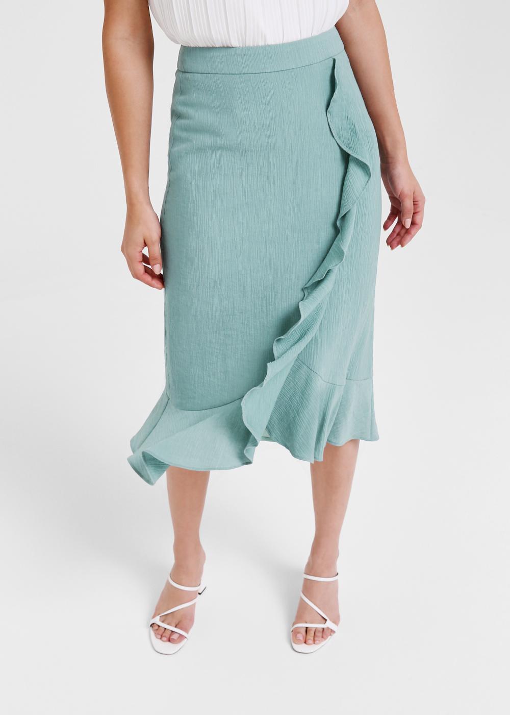 Elara Cascade Ruffle Midi Skirt