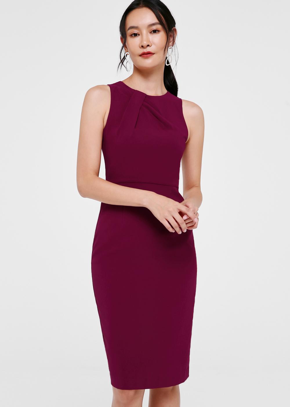 Amalia Pleat Front Midi Dress