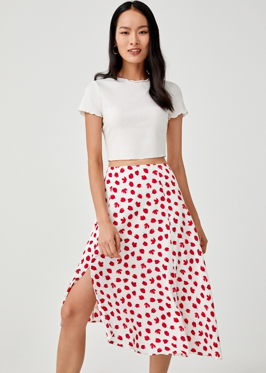 Ariadne Asymmetrical Hem Midi Skirt