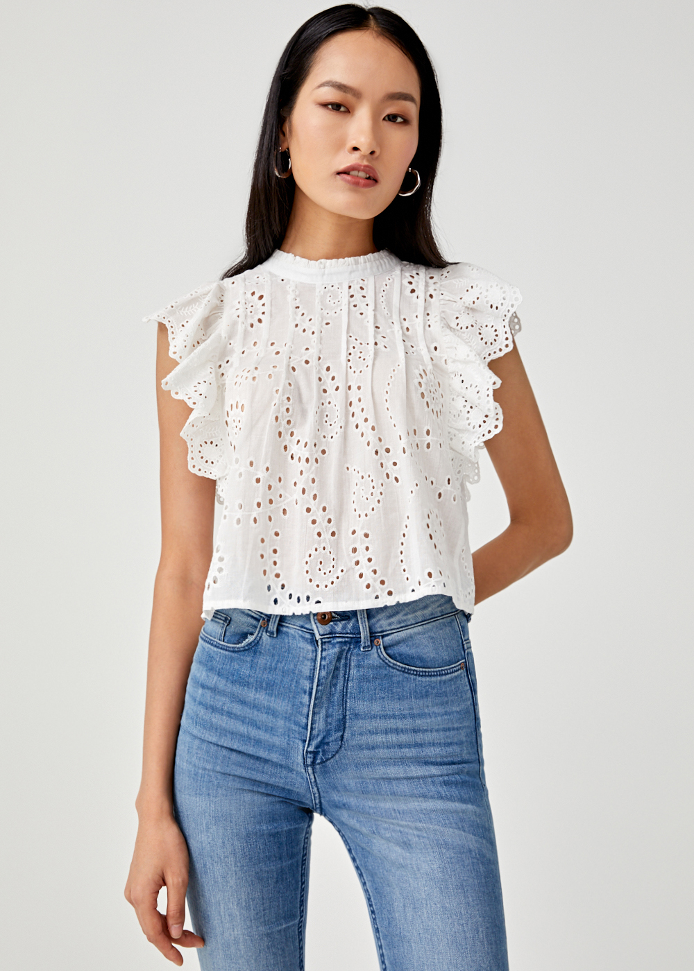 Akira Broderie Anglaise Shell Top