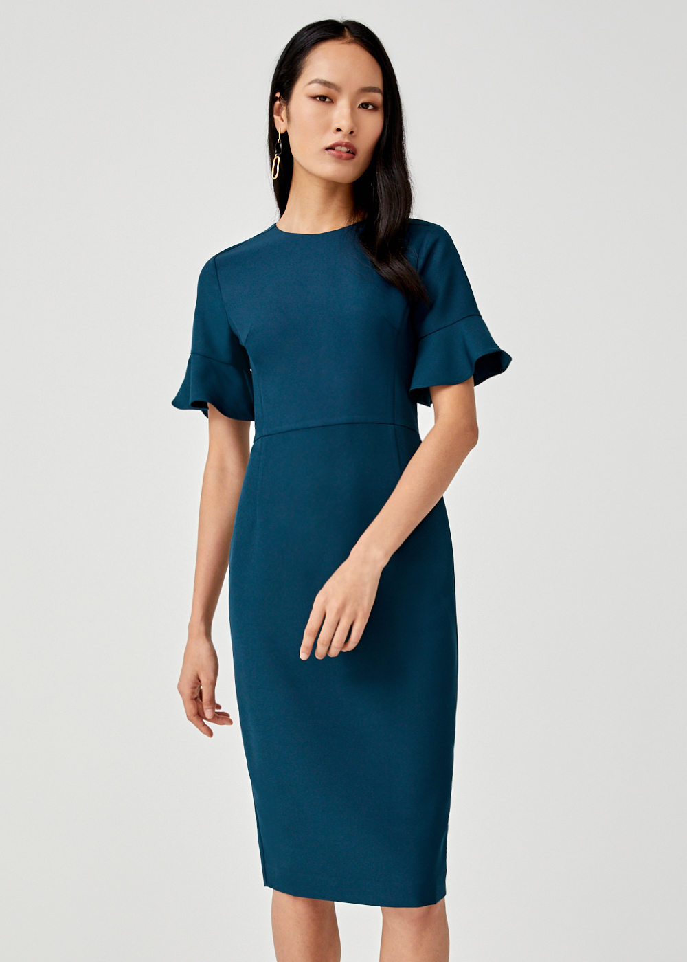 Ezra Flare Sleeve Midi Dress