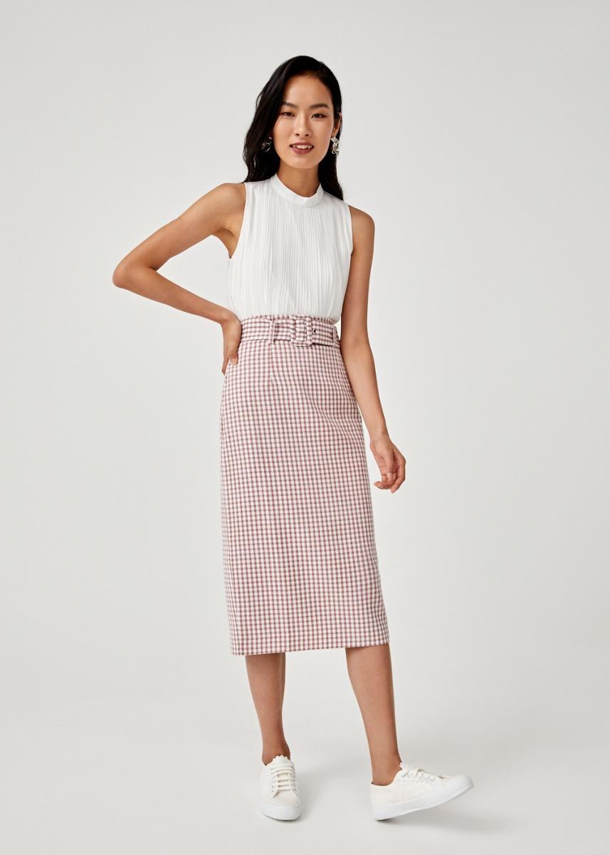 Evangeline Belted Midi Pencil Skirt