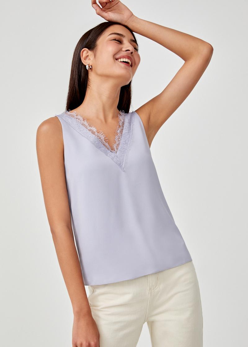 Arianna Lace Trim V-neck Top