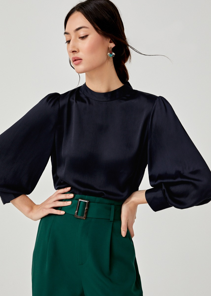 Amelya High Neck Puff Sleeve Top