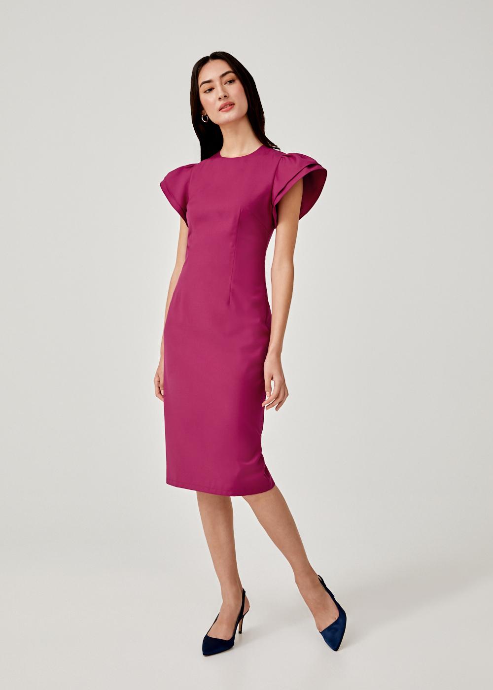 Floella Flare Sleeve Midi Dress
