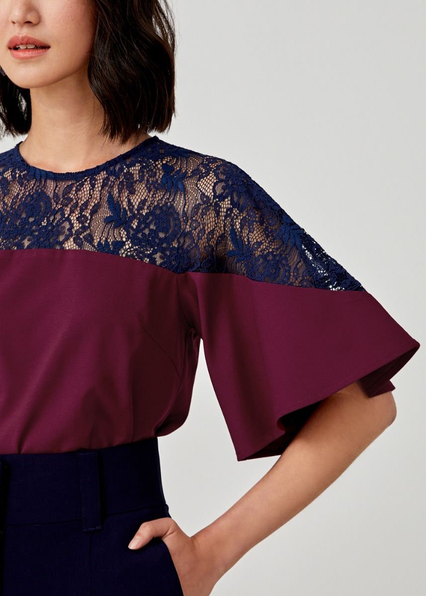 Raemonia Lace Flutter Sleeve Top